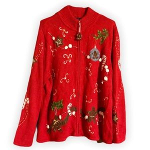VTG Gingerbread Man Ugly Christmas Zip Up Sweater